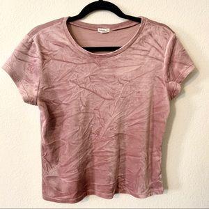 Garage mauve pink velvet shirt shirt sleeve medium